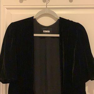 Reformation black velvet maxi wrap dress